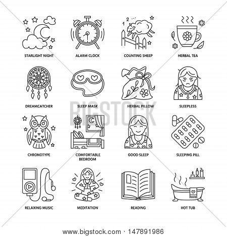 Modern vector line icon of sleepless and healthy sleep. Elements - clock pillow pills dream catcher counting sheep. Linear pictogram with editable stroke for sites brochures about insomnia problem
