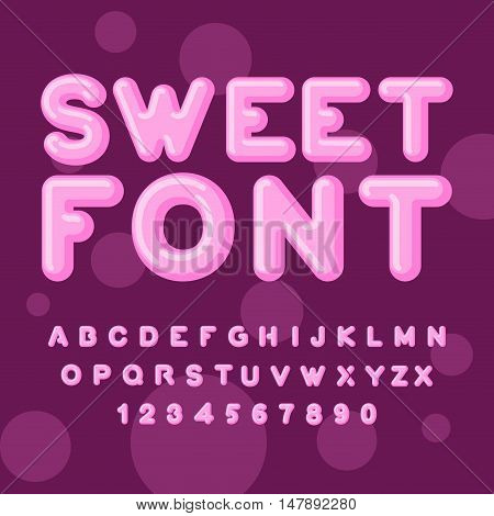 Sweet Font. Pink Letters. Lollipops Lettring. Abc Of Caramel. Candy Alphabet.