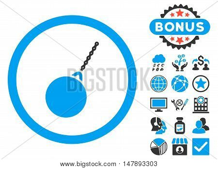 Destruction Hammer icon with bonus design elements. Glyph illustration style is flat iconic bicolor symbols, blue and gray colors, white background.
