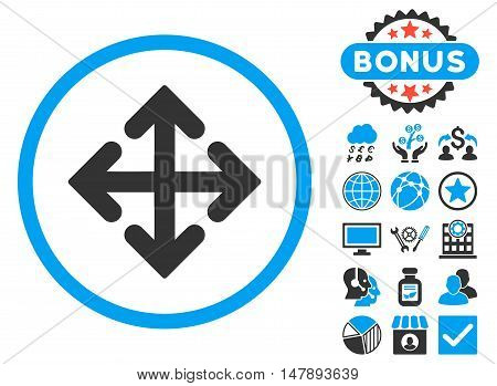 Direction Variants icon with bonus symbols. Glyph illustration style is flat iconic bicolor symbols, blue and gray colors, white background.
