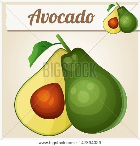 Avocado. Cartoon vector icon. Series of food and drink and ingredients for cooking.