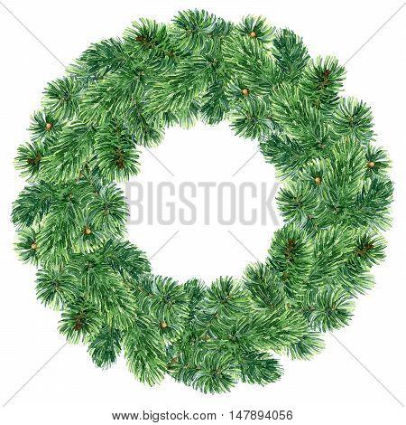 Bright green Christmas fir wreath. Watercolor illustration