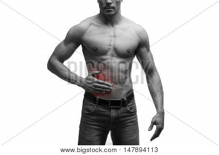 Attack of appendicitis pain in right side of muscular male body isolated on white background black and white photo with red dot