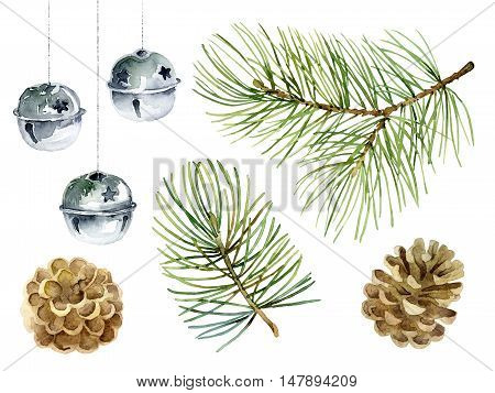 Christmas set of design elements with fir branches balls and cones. Watercolor illustration