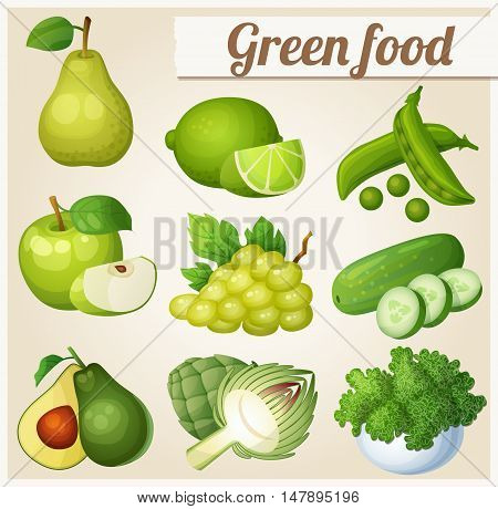 Set of cartoon food icons. Green food. Pear, lime, peas, apple, grapes, cucumber, avocado, artichoke, kale