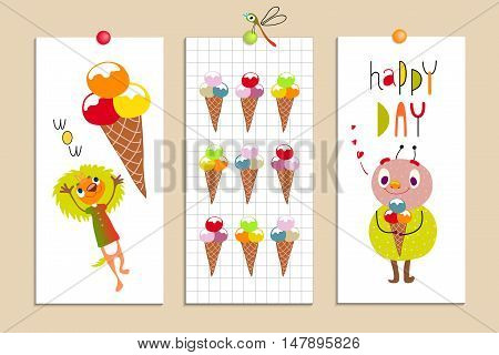 Set of creative cards with funny monsters and ice cream. Emotions, sweets. Funny Cartoon fantastic creatures. Cute fabulous incredible characters for children's design.  Vector Сollection on white.