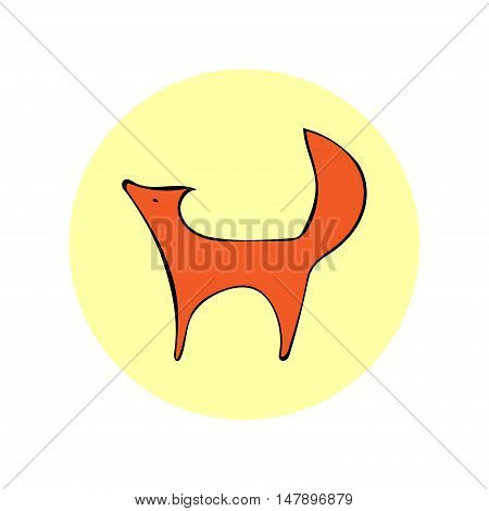 Vector image design Fox white background. Vector Fox emblem logo symbol. Fox symbol cunning.