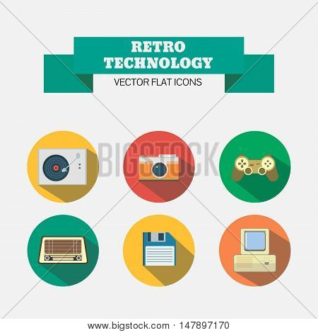 Set of retro technology icons. Flat with shadows. Icons of vinyl player, camera, joystick, radio, diskette and computer with keyboard.