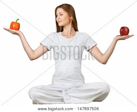 Portrait of a Young Woman Holding a Pepper and an Apple