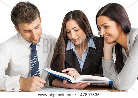 Portrait of Business People Looking on Book