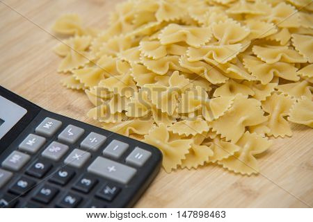 Calulator With Pasta On Wooden Background, Calories