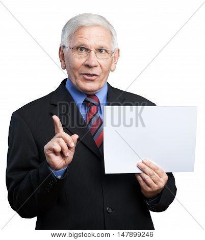 Portrait of a Senior Businessman Holding a Blank Paper