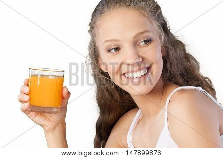 Portrait of a Young Woman with Glass of Orange Juice