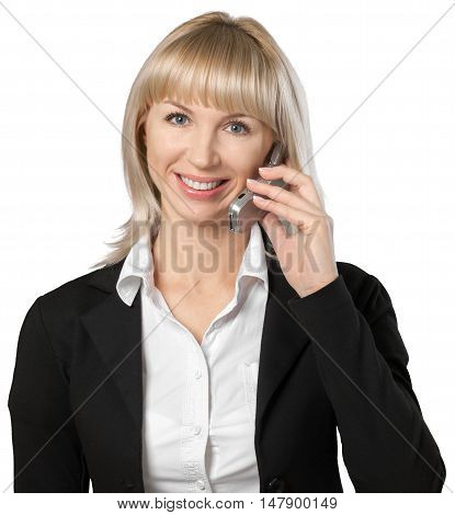 Professionally dressed woman talking on a cell phone