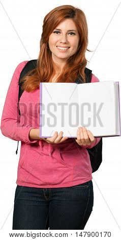 Redheaded woman carrying an open and blank textbook