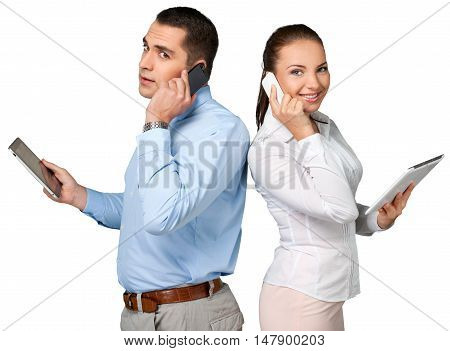 Portrait of Business People Using Tablet while Talking on Phone