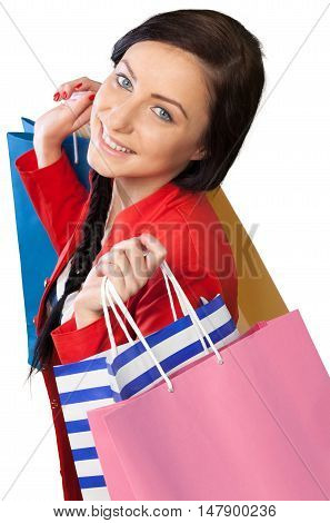 Portrait of a Pretty Woman with Shopping Bags