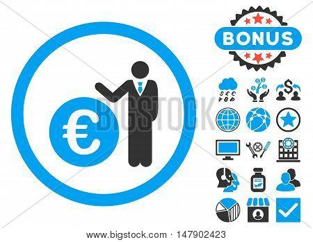 Euro Economist icon with bonus pictogram. Glyph illustration style is flat iconic bicolor symbols, blue and gray colors, white background.