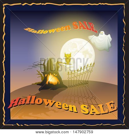 Sale poster. Discount sticker with Moon, ghost, owl, tree and words Halloween Sale. Price tag template.