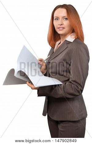 Businesswoman Holding Paper Sheets And Pen - Isolated