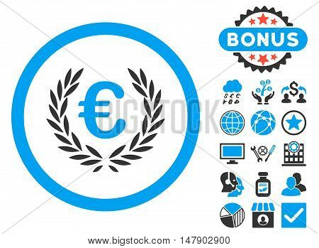 Euro Glory icon with bonus images. Glyph illustration style is flat iconic bicolor symbols, blue and gray colors, white background.
