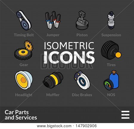 Isometric outline t icons, 3D pictograms vector set 36 - Car parts and services symbol collection