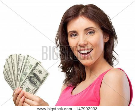 Happy Woman Holding a Dollar Bills - Isolated