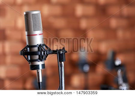 Microphone in recording studio