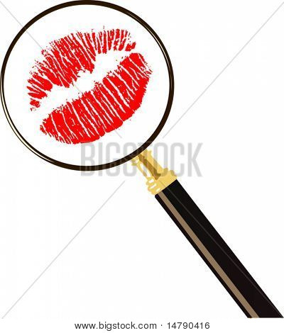 red lips imprint and magnifier isolated on white background