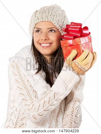 Young Woman In Winter Clothes Holding Present - Isolated