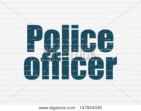 Law concept: Painted blue text Police Officer on White Brick wall background