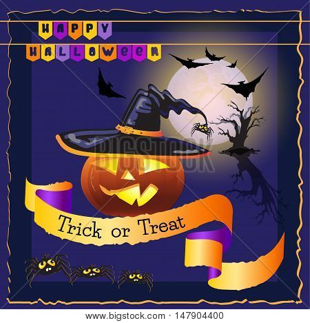 Vector  illustration of Halloween night background with full Moon, pumpkin, bats and spiders. Halloween card with night sky and words Happy Halloween, Trick or Treat.