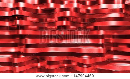 Randomly Distorted Metal Surfaces. Wave Displacement Of Relfective Surface. 3D Wave Background.