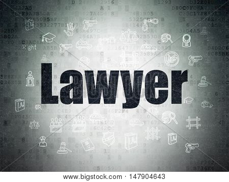 Law concept: Painted black text Lawyer on Digital Data Paper background with  Hand Drawn Law Icons
