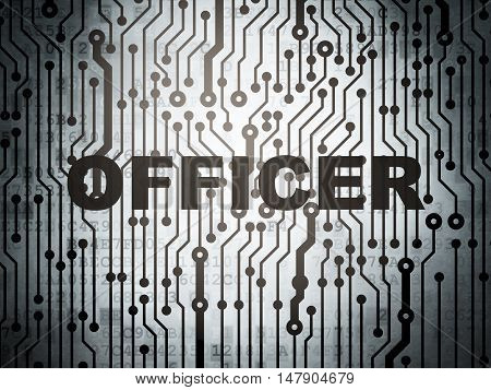 Law concept: circuit board with  word Officer, 3D rendering