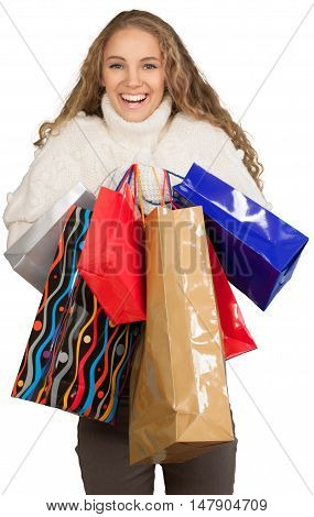 Young Woman In Winter Clothes Holding Presents - Isolated