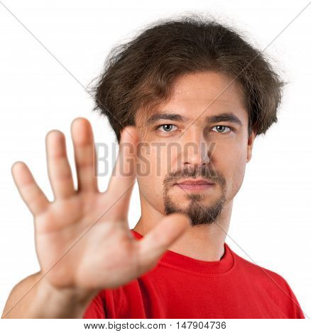Portrait of a Man Showing Hand / Stop Gesture