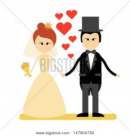 Cartoon Marriage Couple Fiance And Bride Wear Wedding Dress Holding Hands Flat Vector Illustration