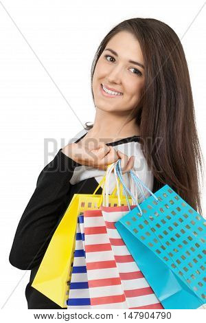 Friendly Young Woman Holding Shopping Bags - Isolated