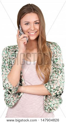 Smiling Woman Talking on The Phone - Isolated