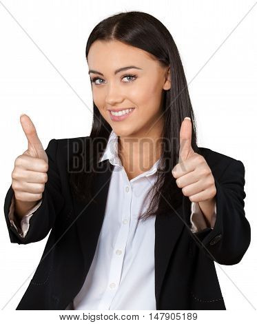 Friendly Businesswoman with Thumbs Up - Isolated