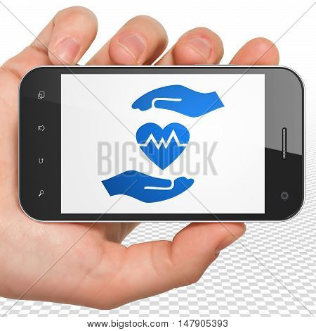 Insurance concept: Hand Holding Smartphone with blue Heart And Palm icon on display, 3D rendering