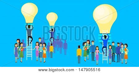 Asian Business People Group Businessman Climb Up Ladder Stairs To Light Bulb New Idea Concept Asia Businesspeople Team Flat Vector Illustration
