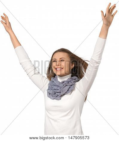 happy young woman with hands thrown in the air