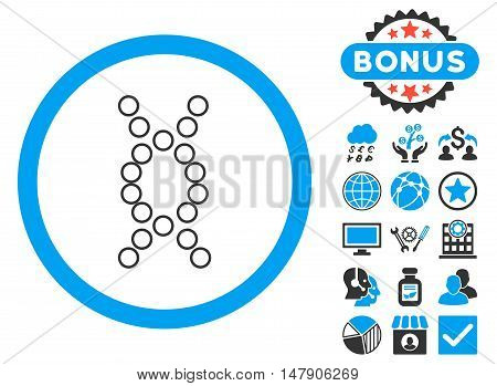 Genome icon with bonus images. Glyph illustration style is flat iconic bicolor symbols, blue and gray colors, white background.