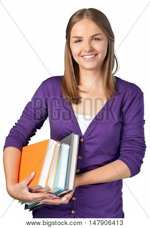Portrait of a Young Woman Carrying Books