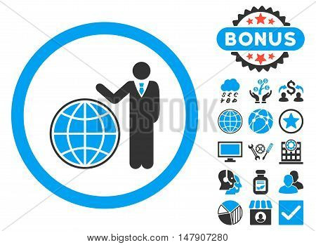 Global Manager icon with bonus images. Glyph illustration style is flat iconic bicolor symbols, blue and gray colors, white background.
