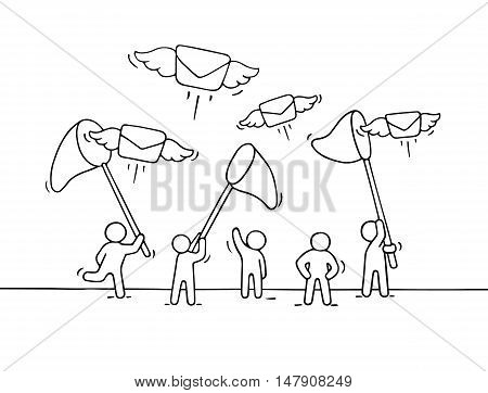 Sketch of working little people with flying letters. Doodle cute miniature scene of workers trying to catch post. Hand drawn cartoon vector illustration for business design.