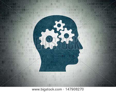 Learning concept: Painted blue Head With Gears icon on Digital Data Paper background