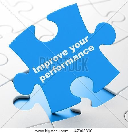 Education concept: Improve Your Performance on Blue puzzle pieces background, 3D rendering